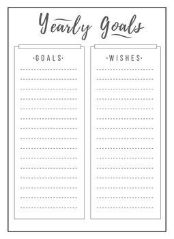 Yearly schedule minimalist planner page design