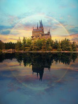 Hogwarts castle at Universal Studio Japan with impressive sky an