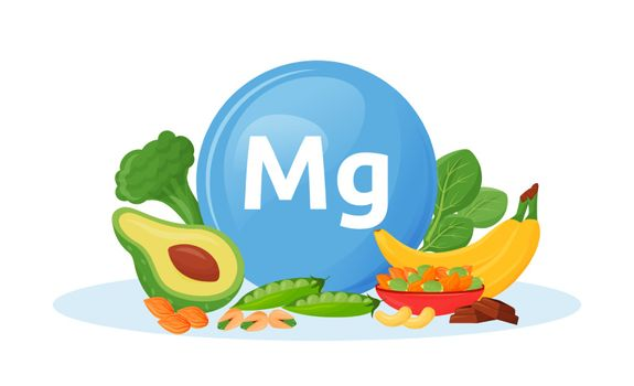 Products containing magnesium cartoon vector illustration