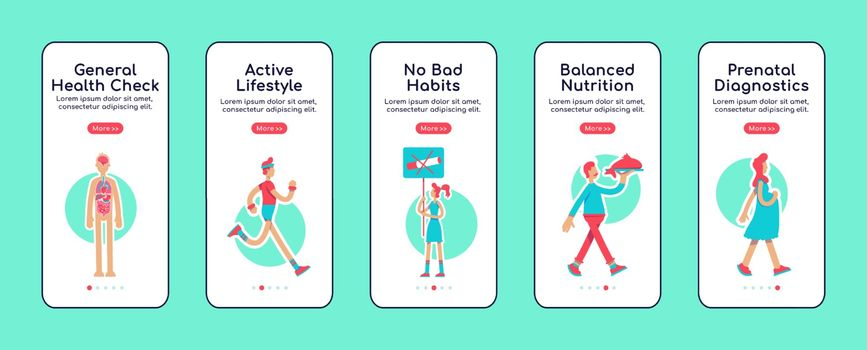 General health care onboarding mobile app screen flat vector template