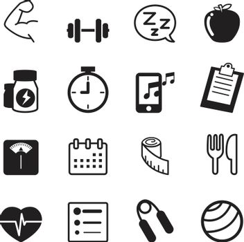 Fitness and dieting icons set