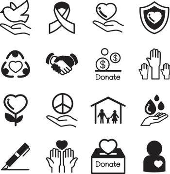 Donate and Charity basic icons set
