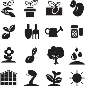 cultivate & Plant Grow icons set
