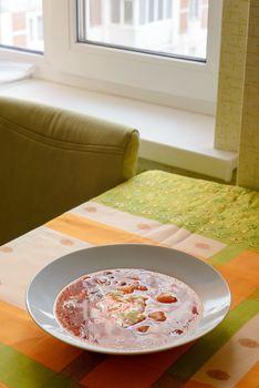 Ukrainian Borscht in a White Plate