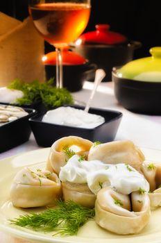 Pelmeni (Dumplings) with Fennel and Smetana (Sour Cream)