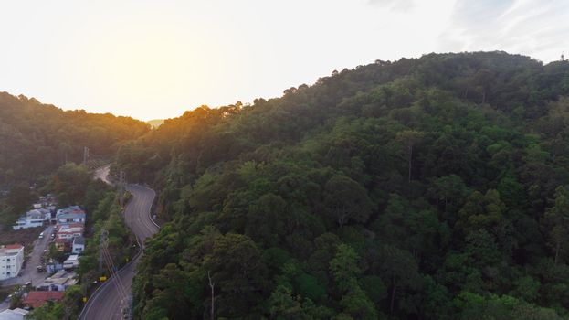 Aerial view of local road to Patong city in Phuket South of Thai