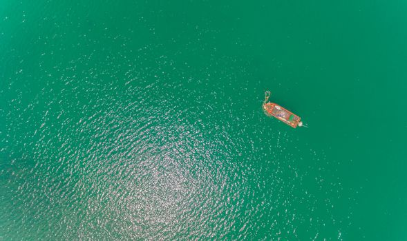 Aerial view of Local fisherman boat in over the sea