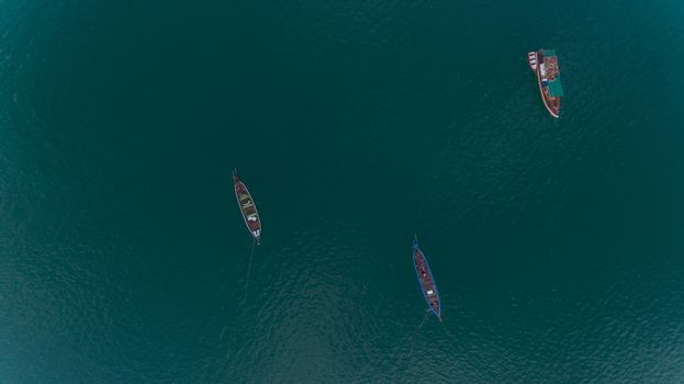 Aerial view of Local fisherman boat in blue sea Soth of Thailand