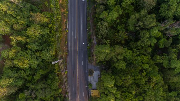 Aerial local road in Soth of Thailand