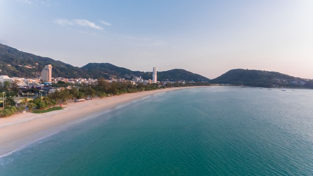Aerial view of Patong Beach South of Thailand without people on