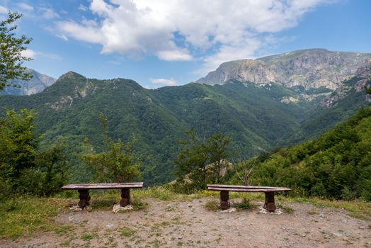 A bench in the meadow at mountains in Bulgaria.