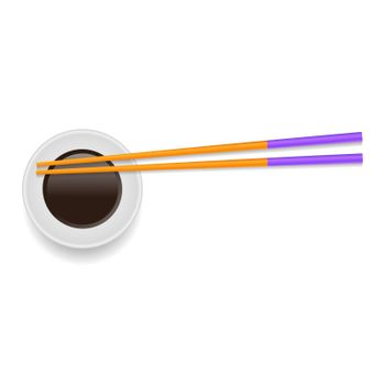 Soy Sauce and Traditional Colored Asian Chopsticks for Food on White Square Background