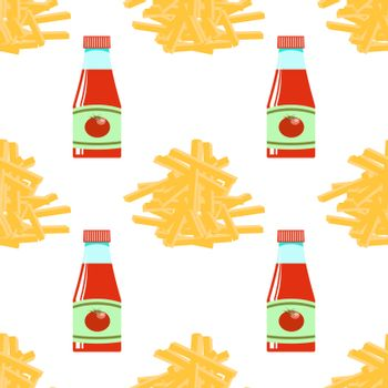 French Fries and Ketchup. Fry Potato Seamless Pattern. Tasty Vegetable. Fast Food Snack. Organic Food. 3d Illustration.