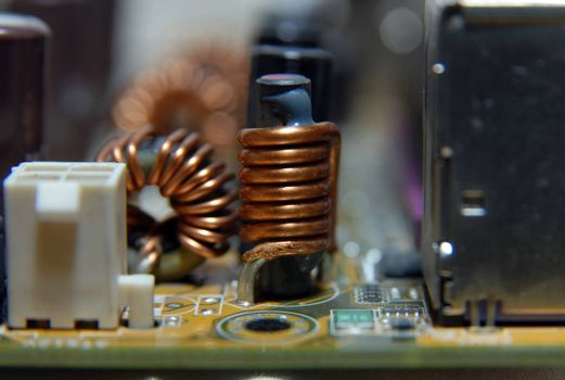 Computer internal hardware circuit board, ferrite coil