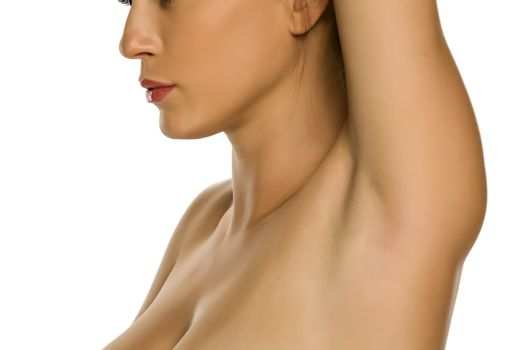 woman showing her smooth underarm