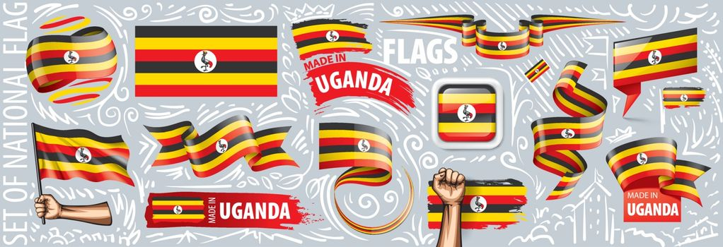 Vector set of the national flag of Uganda in various creative designs.