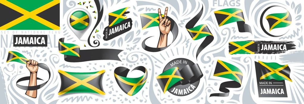 Vector set of the national flag of Jamaica in various creative designs.