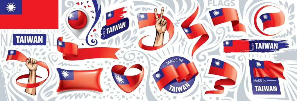 Vector set of the national flag of Taiwan in various creative designs.