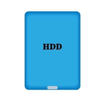 HDD. Hard disk. External storage for the computer. Flat style.