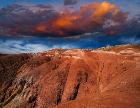 Valley of Mars landscapes in the Altai Mountains with beauty sky