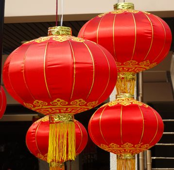 Traditional Chinese lanterns at an outdoor festivity
