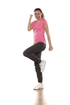 happy young woman in sportswear