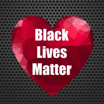 Black Lives Matter Banner with Red Heart for Protest on Perforated Background