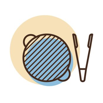 Barbecue grill with tongs vector icon