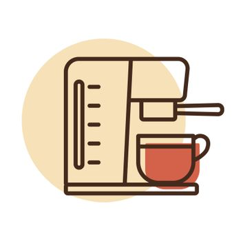 Coffee machine with cup vector icon