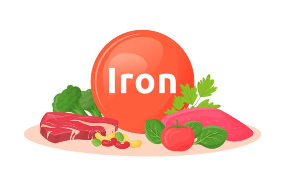 Products containing iron cartoon vector illustration