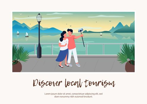 Discover local tourism banner flat vector template