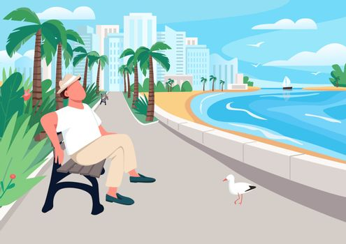 Man sitting on seafront street bench flat color vector illustration