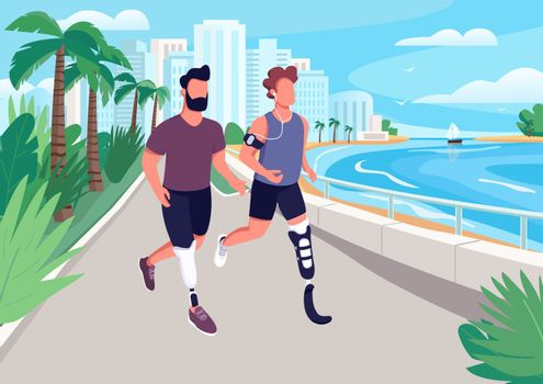 People jogging on seafront flat color vector illustration