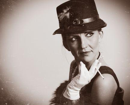 retro woman fashion portrait,old texture photo