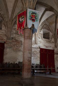 HUNEDOARA, ROMANIA: Interior of the Corvin Castle, also known as Hunyadi Castle or Hunedoara Castle, Hunedoara County, Transylvania, Romania