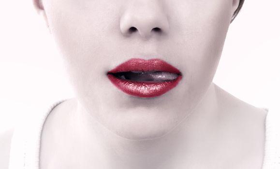 female fashion lips closeup