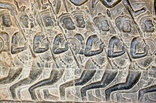 Kaurava Army bas relief, Angkor Wat