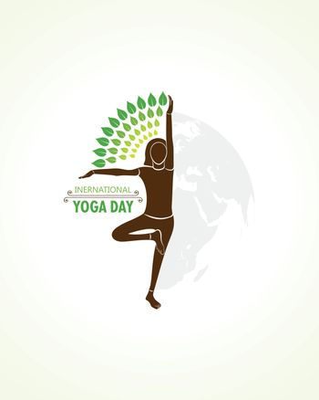 illustration of A Girl doing yoga for International Yoga Day observed on 21st June