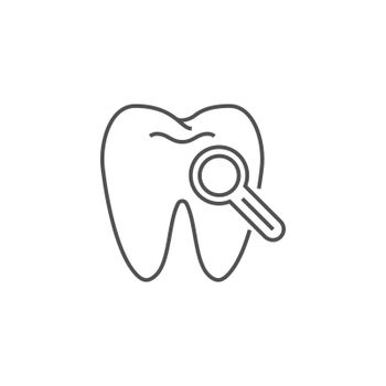 Dental Diagnostic Line Icon. Dental Diagnostic Line Related Vector Line Icon. Isolated on White Background. Editable Stroke.