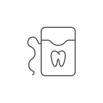 Dental Floss Line Icon. Dental Floss Line Related Vector Line Icon. Isolated on White Background. Editable Stroke.