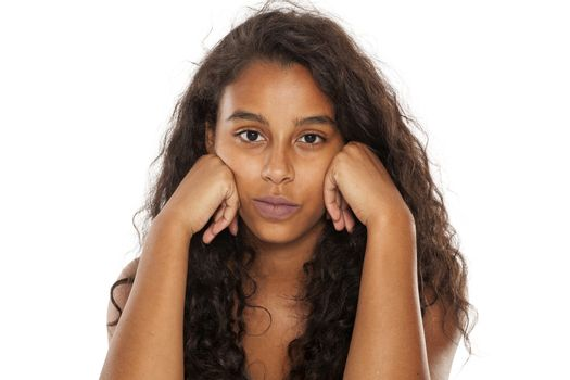 dark-skin girl get bored