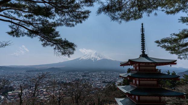 Chureito red Pagoda with Mt. Fuji