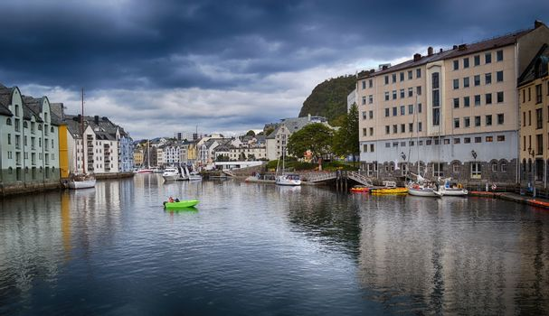 Travel in Norway, View on Alesund town