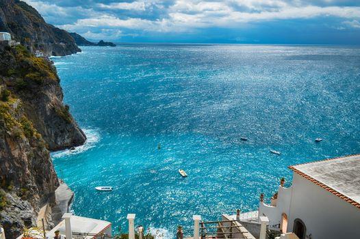 Travel in Italy. Amalfi coast with the sea