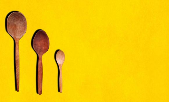 Wooden spoons with the copy space