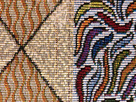 Colorful fabric material closeup at home