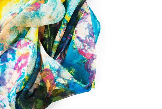 Beautiful silk colorful scarf closeup view