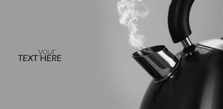 Kettle closeup with the copy space