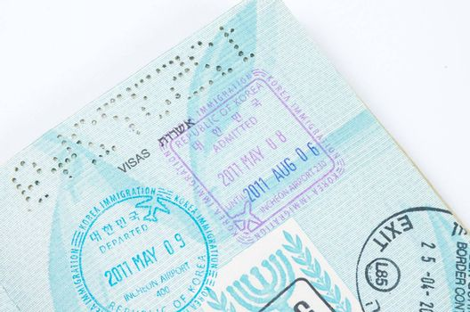 Border crossing stamps in the passport