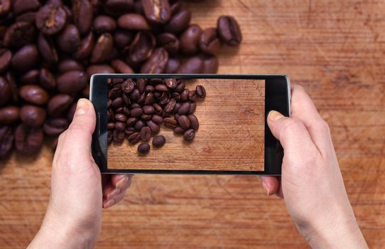 Taking photo of the coffee beans